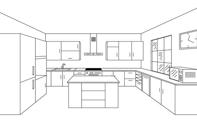 Kitchens line drawing. Image by Barrirret (via Shutterstock).