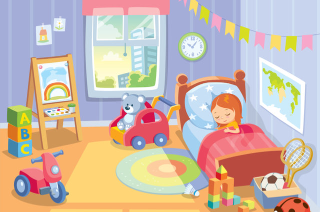 Child's bedroom illustration by Olga1818 (via Shutterstock).