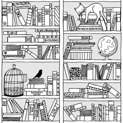 Hand Drawn Bookshelves illustration by Franzi (via Shutterstock).